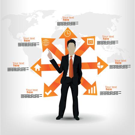 dominance: plantilla de negocio con el hombre y la ilustraci�n de flecha
