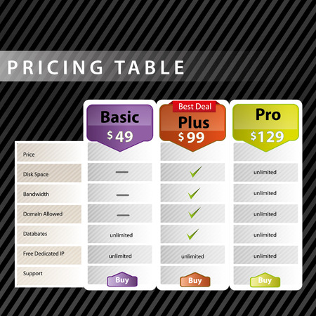 Pricing table design Illustration