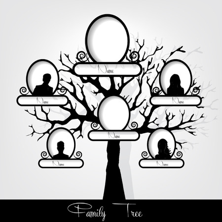 genealogical: Ilustraci�n del �rbol de familia del vector Vectores