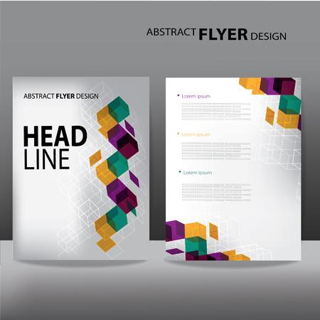 cubes brochure or flyer design Ilustração