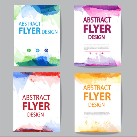 set of flyer or brochure  with modern watercolor design