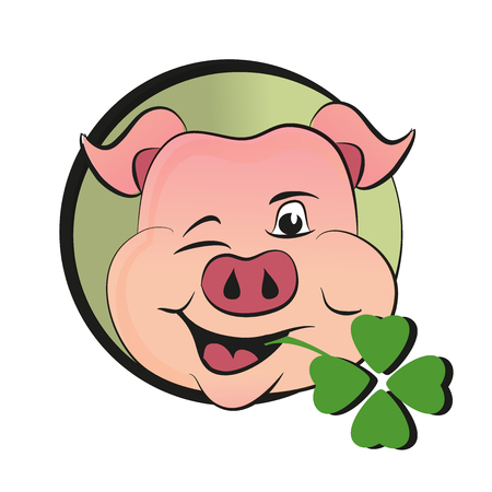 St patrick s day pig with green clover, design vector