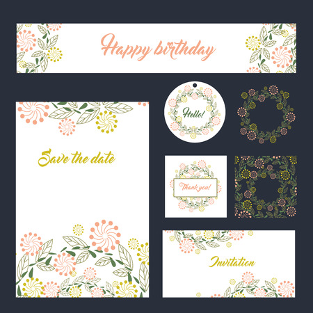 Wedding set stationery design set in format banner templates greeting cards or invitations