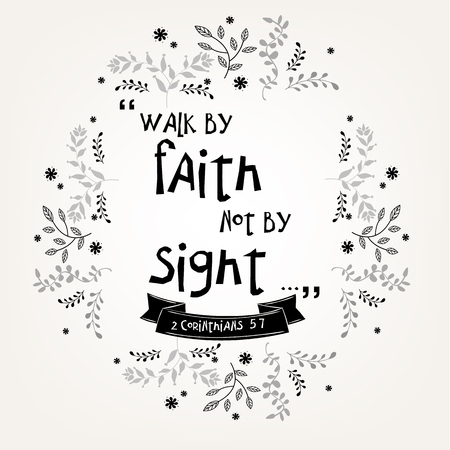 Bible quote verbs in floral wreath vector design