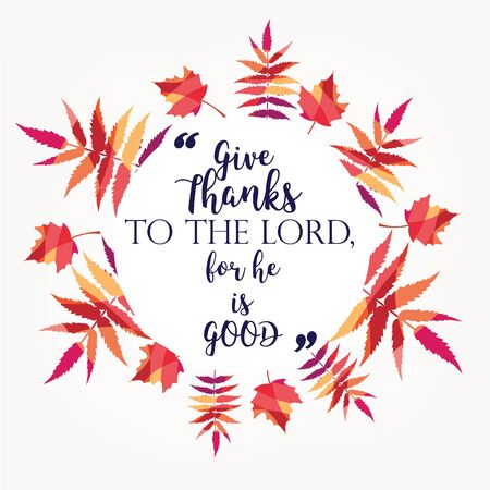 Holy bible verses, christian quote with leaf design. vector illustration