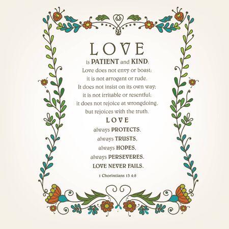 Cita de la Biblia El amor es paciente, amable, hecho con corazones. Trasfondo bíblico. Cartel cristiano. Tarjeta. Impresión de la escritura.