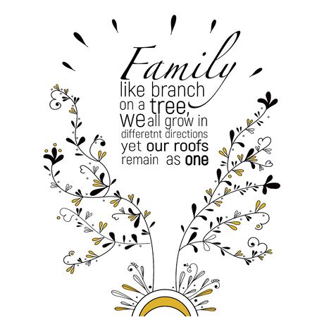 Family like a branches on a tree, we all grow yet our roots remain as one, vector.