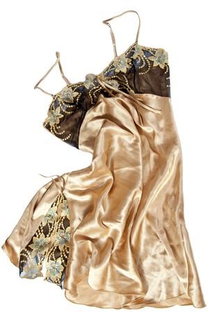 Gold silk female peignoir isolated on white