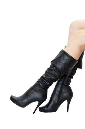 sexy f�sse: Fashionable frau schwarze Stiefel auf eine hohe Ferse und Beine