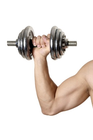 mans hand with muscles and  big biceps holds iron dumbbell photo
