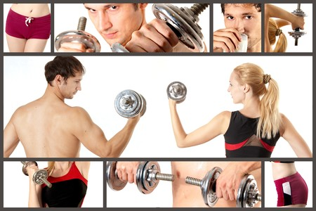 Collage from man and woman fitness, bodibilding. They are working out Stock Photo - 8209725