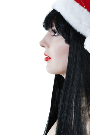 Portrait of young sexy female model in red santas cap on white background Stock Photo - 10304712
