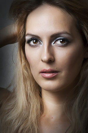 Fashion portrait of female model face with make up Stock Photo - 10442421