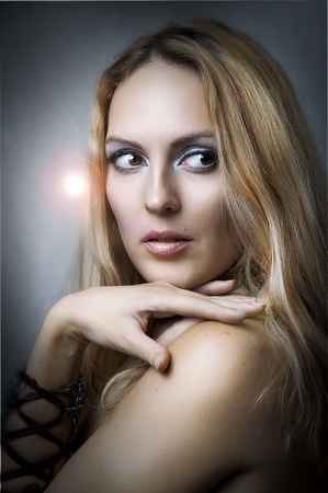 studio portrait of young adult beautiful sexy female model Stock Photo - 10442420