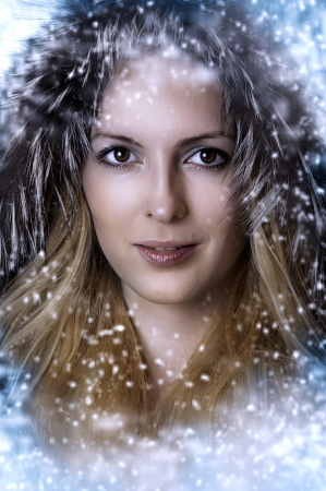christmas winter woman. Beauty glamour portrait of sexy model face at fashion hood from fox fur closeup Stock Photo - 10522333
