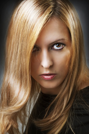 Fashion portrait of young sexy female model face of glamour blonde woman with perfect long straight hair and beauty hairstyle Stock Photo - 11598475