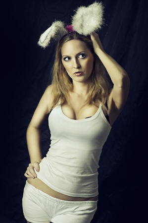 big breast woman: Sexy rabbit or bunny - woman in costume - fur ears and white underwear