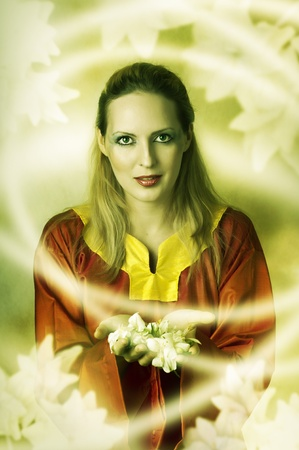 Young woman elf or witch making magic. Fantasy portrait Stock Photo - 12120703