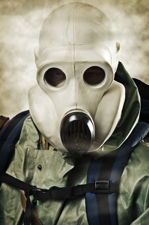 doomsday: Man in gas mask. Doomsday concept  Stock Photo