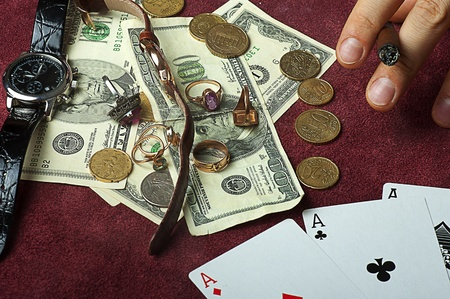Poker table with cards and money Stock Photo - 12977933
