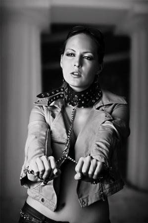 mistress: Sexy woman. Black and white portrait Stock Photo