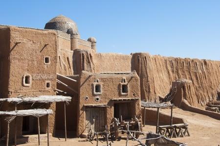 east gate: Sarai-Batu - reconstruction of capital city of Golden Horde Stock Photo