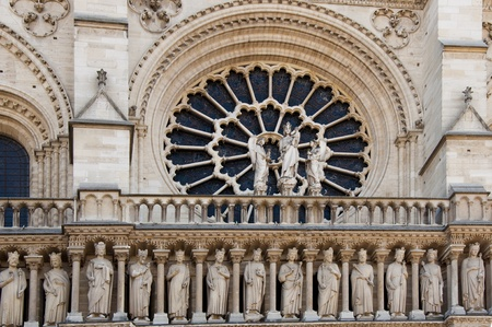 Detail of gothic Cathedral of Notre Dame in Paris  Statues photo