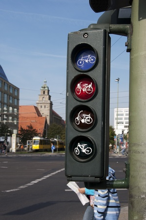Close up of traffic lights for bicycles in Berlin, Germany photo
