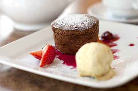 Chocolate Cake and vanilla ice cream (shallow dof)  Stock Photo