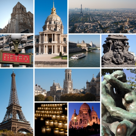 Paris collage - arhitecture outdoor. Romantic symbols of Paris: Eiffel Tower, parisian palaces, bridges over the Seine, Notre Dame cathedral. France.