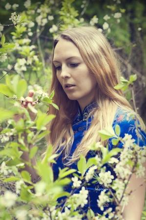 Beautiful woman in cherry flowers garden Stock Photo - 13712713