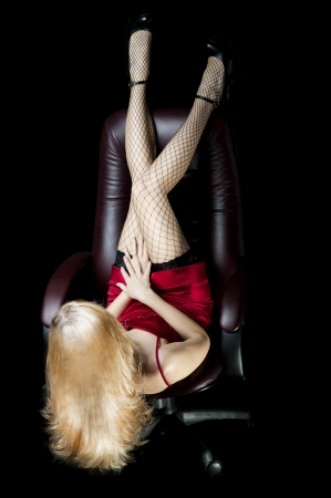 sexy legs stockings: Woman with long sexy legs and beautiful  blond hair