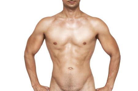 wet nude: Desnudo el torso mojado muscular del hombre desconocido aisladas sobre fondo blanco Foto de archivo