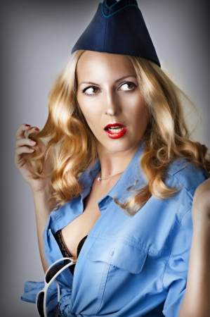 Fashion portrait of sexy woman in pin up style  photo