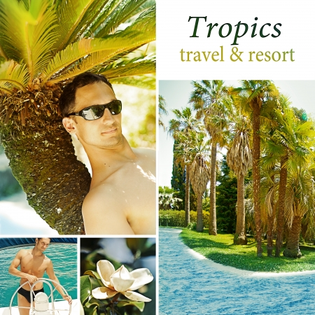 spa collage: Young man relax on a tropical resort concept. Collage