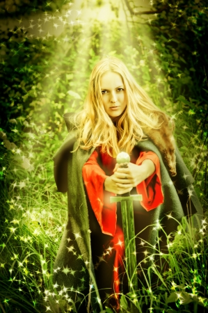 Young beautiful sexy woman witch in miracle Enchanted forest Stock Photo - 14680189