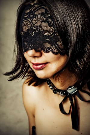 sexy mouth: Sexy young woman with lace mask covered her eyes