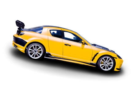 exotic car: Yellow sports car on white background