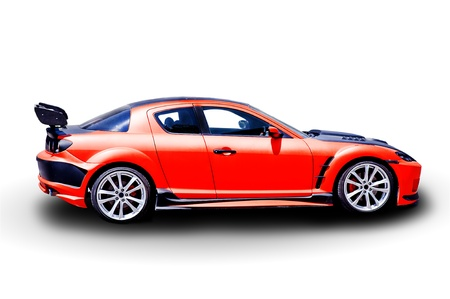 exotic car: Red sports car on white background