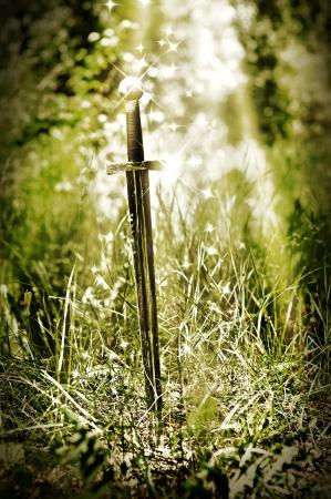 stuck: Magic sword stuck in the ground