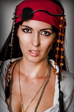 Mode Porträt Der Jungen Sexy Blonde Frau In Pirat Stil Mit