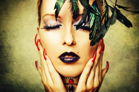 human fingernail: Fashion retro portrait of woman with dark makeup and red nails