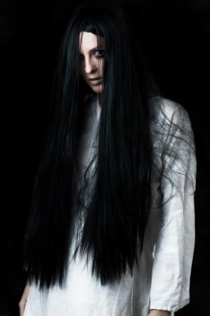 nightie: a scary ghost girl wearing a white nightie