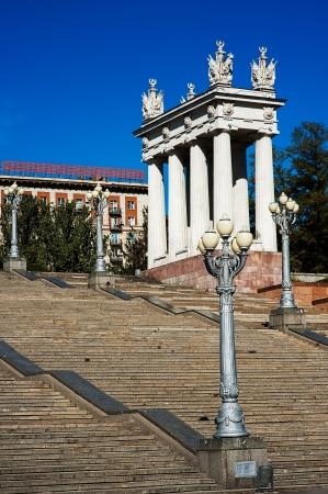 volgograd: Colonnade and street lights near staircase in Volgograd, Russia  Editorial
