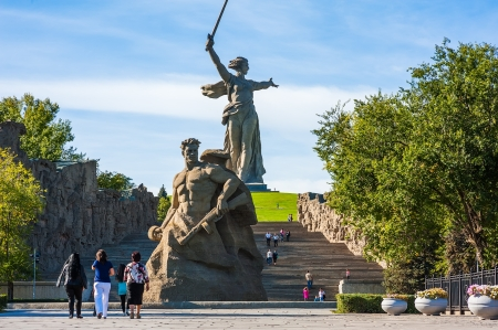 Tourists in World War II Memorial in Volgograd Russia  Stock Photo - 15838151