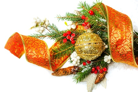 Christmas Decorations border over white - balls, berry, con on fir tree branch Stock Photo - 16279932