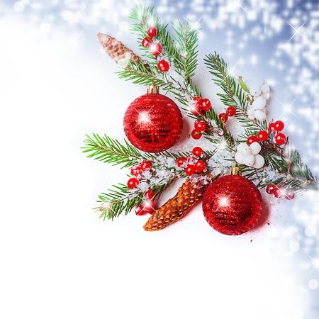 Christmas Decorations border - balls, berry, con on fir tree branch Stock Photo - 16279937
