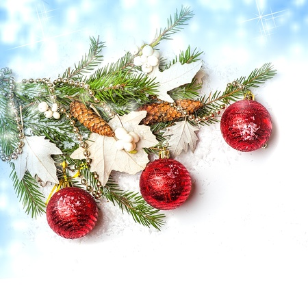 Christmas Decorations  - balls, beads, cone on fir tree branch Stock Photo - 16392193