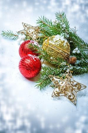 Christmas Decorations  - balls, stars, con on fir tree branch Stock Photo - 16392178