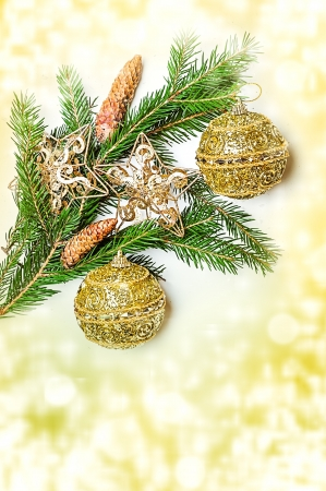 Christmas Decorations  - balls, stars, con on fir tree branch Stock Photo - 16392192